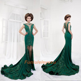 New Design Green Mermaid Sheer Neck Hollow Back Short Sleeves Lace Appliqued Crystal Celebrity Formal Prom Party Cocktail Evening Dress