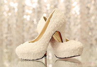 Cheap In Stock 2015 High Heel Charming Wedding Shoes Lace Pearls 10 cm Bridal Shoes Fashion Party Shoes Formal Shoes 2014
