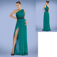 Cheap Reference Images Split Side Prom Dresses Best One-Shoulder Chiffon Prom Dresses
