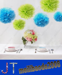 Wholesale Lowest Price quot cm Navy Blue Color Tissue Paper Pom Poms Flower Balls Wedding Party Decoration Paper Craft Mixed Colors uPick HSA0786
