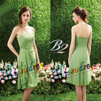 Cheap Lime Green Cheap Strapless Short Bridesmaid Dresses Ruched Chiffon fabric Party Gowns Free Shipping