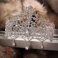 Fascinators pageant crowns - New Style Luxurious Hot Sale Sparkle Pageant Crowns Rhinestone Plus Size Wedding Bridal Crowns Bridal Jewelry Tiaras Hair Accessories