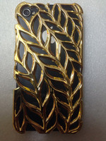 Wholesale PC material mobile phone case for Iphone4S smooth surface olive branch style golden color