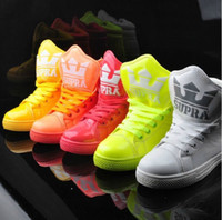 Cheap Men's high-top shoes big tongue fluorescent candy colored fashion casual shoes!