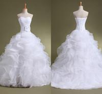 Robes de mariée en organza volants chérie Sweetheart Lace-Up Backless étage-longueur avec la fleur faite à la main Robe de mariée le moins cher Livraison gratuite ZA03