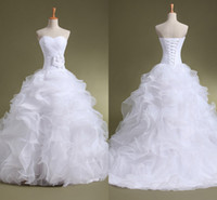 Wholesale White Ruffled Organza Wedding Dresses Sweetheart Lace Up Backless Floor Length With Handmade Flower Cheapest Bridal Gown ZA03
