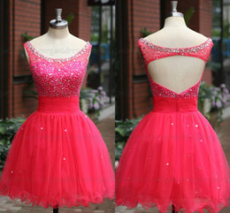 Wholesale Sfani Real Photos Backless Cocktail Dresses Party Dresses Cheap Dress Hot Pink Color Beaded