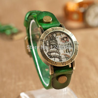 pu leather - 6 Colors Leaning Tower of Pisa Watch PU leather strap Quartz Watch Pyramid Vine Retro wristwatch Hour Relogioes Reloj