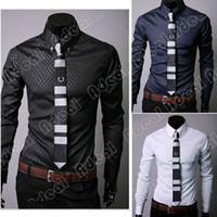 Wholesale New Fashion Stylish Korea Style Mens Casual Slim Fit Dress Shirts color size