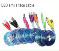 Cheap Visible Micro USB V8 Charger Cable LED Color Light for Samsung Galaxy S4 Data Smiley 1M Noodle Cords for Note 3 N9000 for free shipping