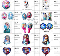Wholesale 15 style Frozen Balloon Elsa Anna Olaf Aluminum foil Blowing Balloon For Children Days Party birthday Decoration Latest cartoon modelling