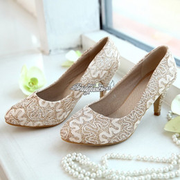 Lace High Heeled Wedding Shoes Champagne Princess Slipper Bridal Shoes High Heeled Slipper U.S. Size Standar