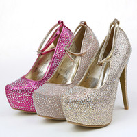 Cheap In Stock Free Shipping Sparkling Wedding Shoes Beaded High Heel Pink Silver Gold Red Bridal Shoes 2014 Prom Shoes Formal Events
