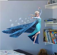 Wholesale Frozen Queen ELSA Frozen Princess Decal Cartoon Removable Wall Stickers Children Girls Kids Room Home Decor DIY