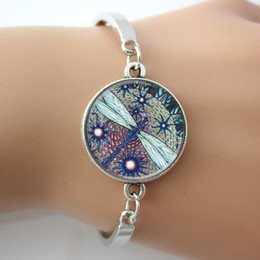 Wholesale Glass Dome Bangle Art Picture Photo Dragonfly Charm Bracelet Whimsical Dragonfly Jewelry New Animal Bracelet For Gift