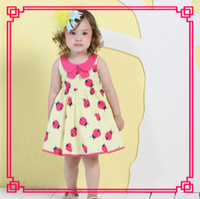 Wholesale High Quality Korean Style Doll Collar Print Baby ladybug dress Little Animals Summer Girls Children A Line Tutu Dress Sleeveless
