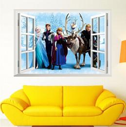 Wholesale Cartoon Frozen Queen Elsa anna D Window Wall Sticker Viny Mural Decal Kids Home room Decorations