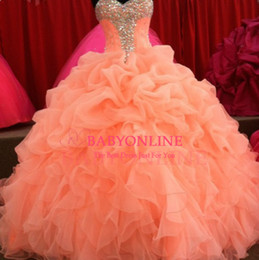 Wholesale 2016 Coral Quinceanera Dresses Floral Beaded Sweetheart Princess Ball Gown Sweet Organza Pleated Princess Prom Dress Evening Gowns BO6714