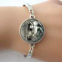 art rhinestone horse - Horse Bracelet Equestrian Jewelry Nature Animal Bangle Black and White Art Picture Photo Glass Silver Bracelets Man Jewelry