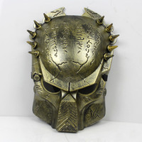 Wholesale Alien Predator Halloween Mask Cosplay Masquerade Mask Party Mask Movie Theme mask Predator avpr lone wolf mask Silver Gold Masks