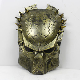 Wholesale Alien Predator Halloween Mask Cosplay Masquerade Mask Party Mask Movie Theme mask Predator avpr lone wolf mask Silver Gold Masks
