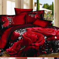 Wholesale 100 Unique D Red Rose comforter covers queen king size girl flower bedding set duvet cover bed sheet bedclothes cotton home textile