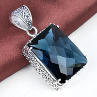 antique silver london - HUGO Holiday Jewelry Gift Square Antique London Blue Topaz Gems Silver Pendant Necklace P0875