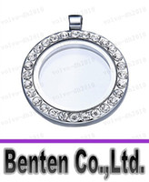 Cheap Free shipping 25mm Floating locket Living memory glass CZ crystal Paved Round Circle pendant charms necklace DIY accessory LLFA7128