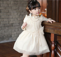 Wholesale Autumn Kids Dress Long Sleeve Wavelet Point Bowknot Girl Princess Dresses With Necklace Korean White Pink Children Clothes WD160