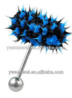 Wholesale Blue Black Koosh Vibrating Tongue Piercing Vibe Bell hot selling flesh expander guage size barbell bar silicone FREE BATTERIES