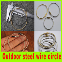 backpacking sale - Camping hiking stainless steel wire circle keychain steel rope key ring hot sale high quality wire circle for outdoor A298L