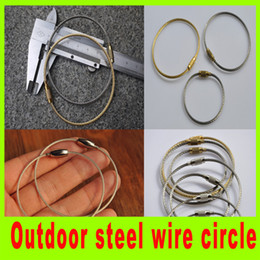Camping hiking stainless steel wire circle keychain steel rope key ring hot sale high quality wire circle for outdoor A298L