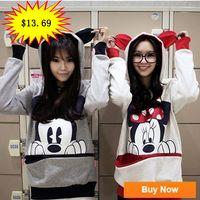 Cheap Cute Girls Womens Mickey Minnie Mouse Ear Emo Sweatershirt Jumper Hoodie Casual New 2014 DF-021