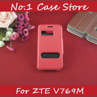 For ZTE pu Leather for zte v769m Answer View Window Calling Caller ID Display Double S View Case For ZTE V769M Flip Leather Mobile Phone Cover With Stand Business Style