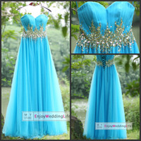 su12 - 2014 Sexy New Light Blue Sweetheart Tulle Floor Length Prom Dresses Beaded Rhinestones Waistband Ruffles Evening Gowns su12