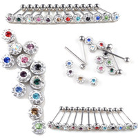 Cheap Wholesale-12X Wholesale Lots 316 Surgical Steel Tongue Rings Crystal Body Piercing Jewelry[BB38*12]