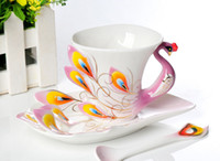 Wholesale Colored enamel coffee cups and saucers European ceramic porcelain enamel peacock coffee cup creative tea cup Franc painting Fashion Set