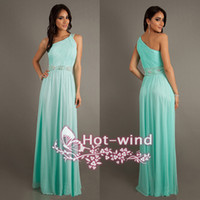 Wholesale 2015 Mint Green One Shoulder Prom Dresses Sleeveless Beaded Sash Pleats Floor Length Women Long Formal Party Evening Gowns BO6384