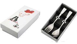 Wholesale EMS Free sets Fashion wedding gift stainless steel cutout heart handle fork spoon set heart knife and fork set party gift