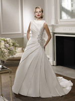 Cheap Wonderful Bateau 2014 Ball Gown Wedding Dresses Beads Sash Stretch Satin Backless Lace up Court Train Sleeveless Bridal Gown
