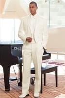Cheap Custom Made Groom Tuxedos Tailcoat Ivory Notch Lapel Best man Groomsman Men Wedding Prom Suits Bridegroom white Jacket+Pants+Tie+Girdle