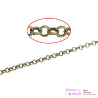 2.5mm chain - Link Opened Cable Chains Findings Antique Bronze mm M B32545