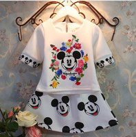 minnie mouse - 2015 spring baby kids mickey mouse clothing set children baby girls clothes print brand minnie dress suits for Y