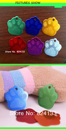 Wholesale Cheapest Pet Id Tags - Wholesale-100pcs cheap wholesale factory direct pet tags aluminum dog tag dog paw id tags,mixed colors,free shipping