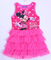 Wholesale Baby girls minnie mouse dress infant toddlers y cotton vest top summer cartoon clothing girl layered pink tutu dresses Christmas
