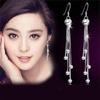Wholesale New Korean Jewelry Sterling Silver Tassels Hook Ball Long Dangle Earrings Earring Pendant