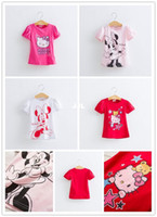 Wholesale Girls Boys Hello Kitty Minnie Tshirt Children Short Sleeve T shirt Kids Summer Clothes