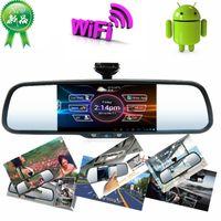 Cheap 5 inch Android system car rear view mirror monitor with GPS Navi, HD DVR, Bluetooth, FM, wifi + MP5 + 8G Map card + 8G Car DVR card