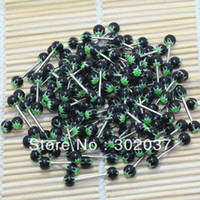 Cheap Wholesale-Colorful Cheap UV Acrylic Ball 14G Barbell Tongue Lip Rings Body Piercing Jewelry free shipping