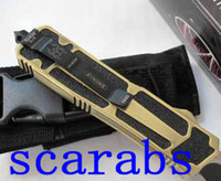 Wholesale Factory price Microtech golden scarab knife with black white blade troodon knives with knids of blade
